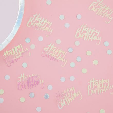 "Iridescent ""Happy Birthday"" Pastel Table Confetti"